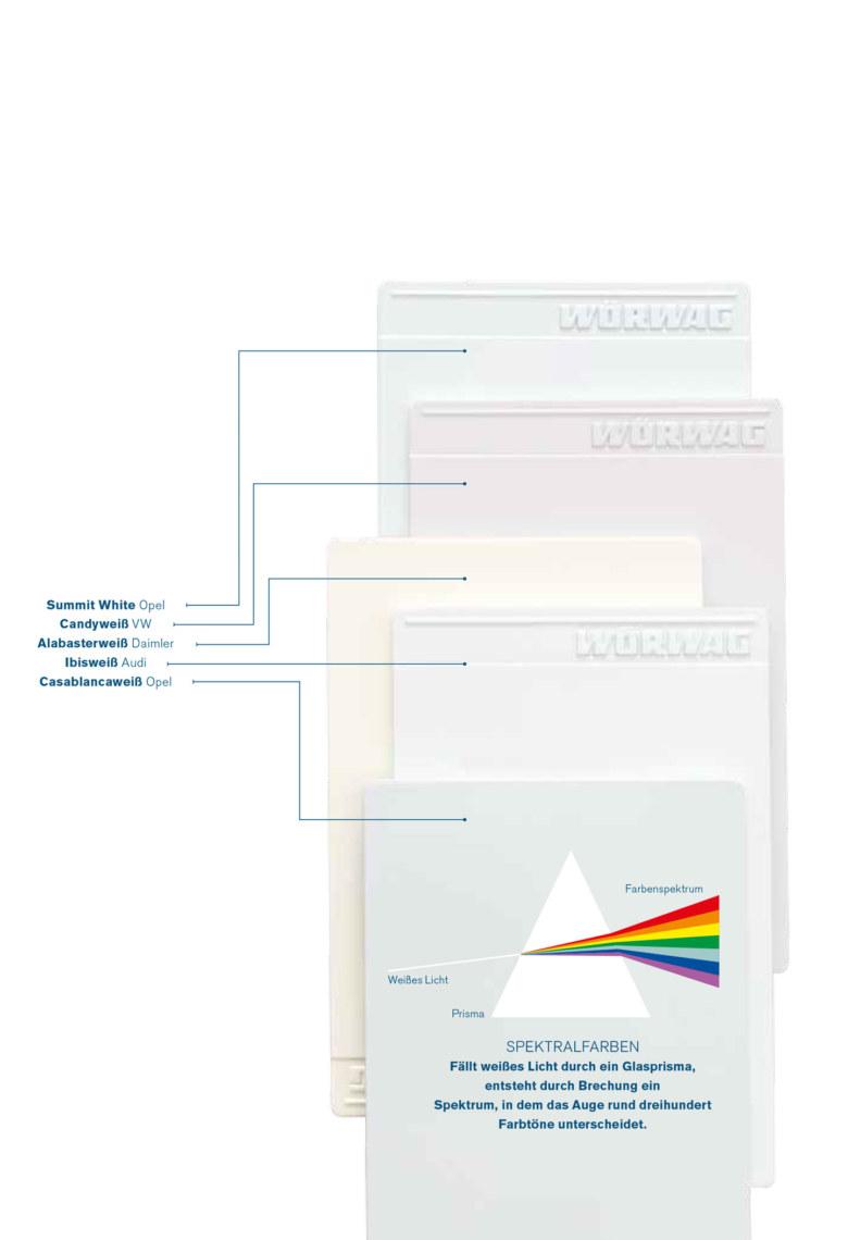 Weisse Farbplatten und Grafik Spektralfarben